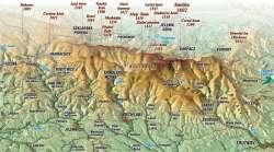 das Riesengebirge auf der Karte